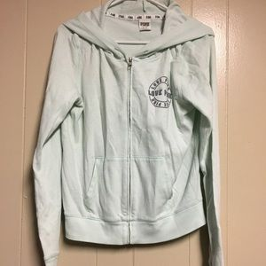 Light teal Victoria's Secret pink zip up